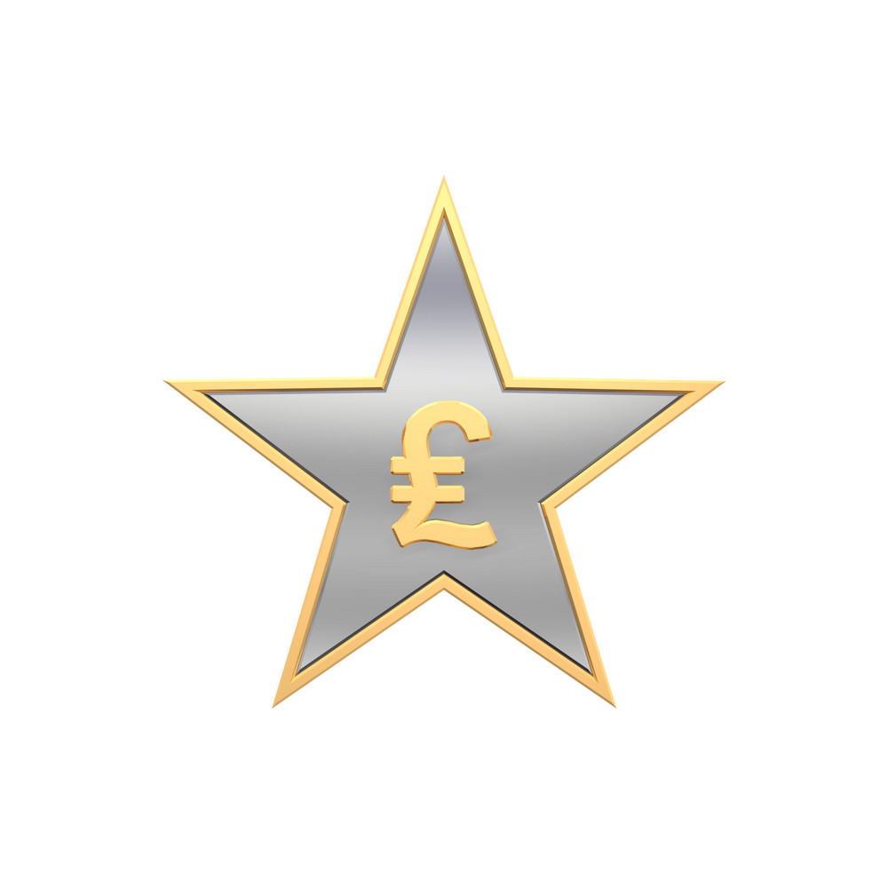 Pound Sign In The Star Isolated On White.