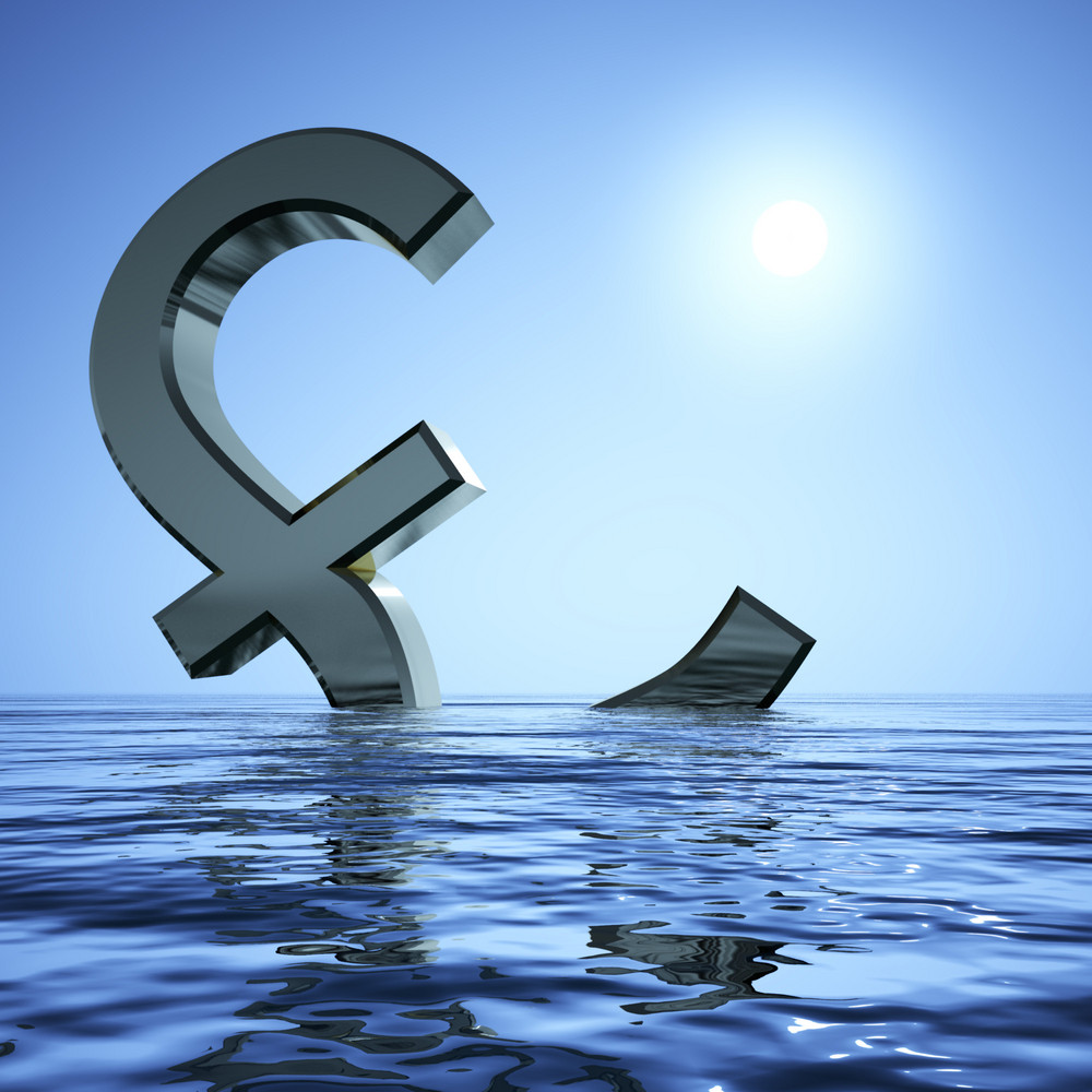 Pound Sinking In The Sea Showing Depression Recession And Economic Downturn