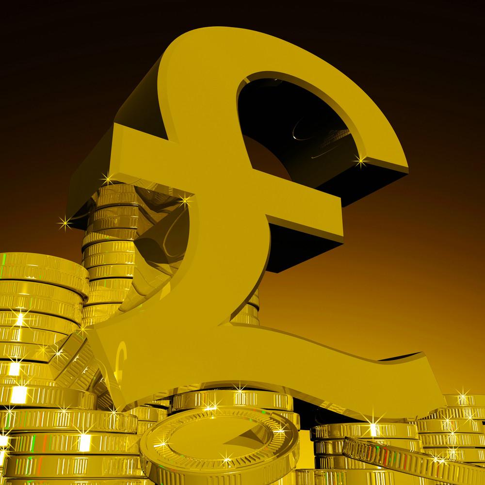 Pound Symbol On Coins Shows British Finances