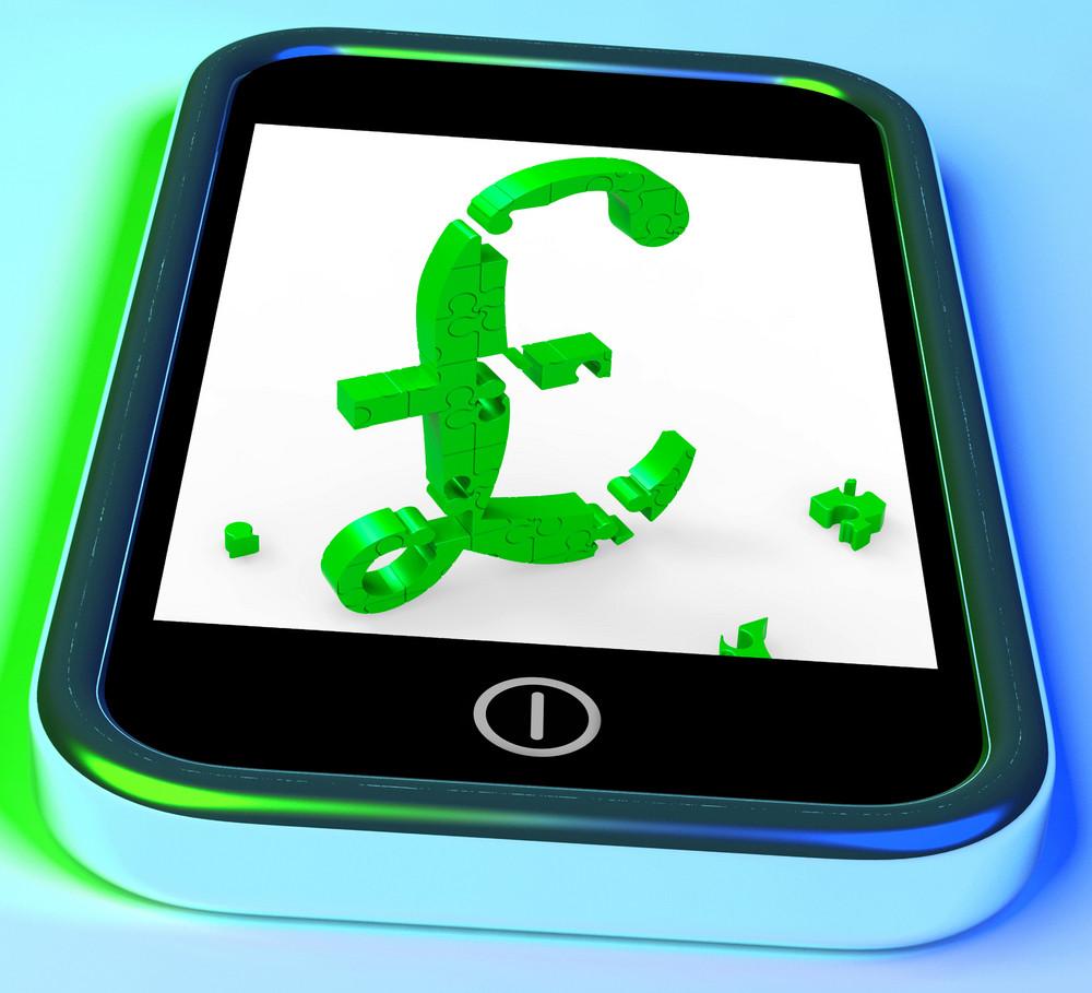 Pound Symbol On Smartphone Shows United Kingdom Finances