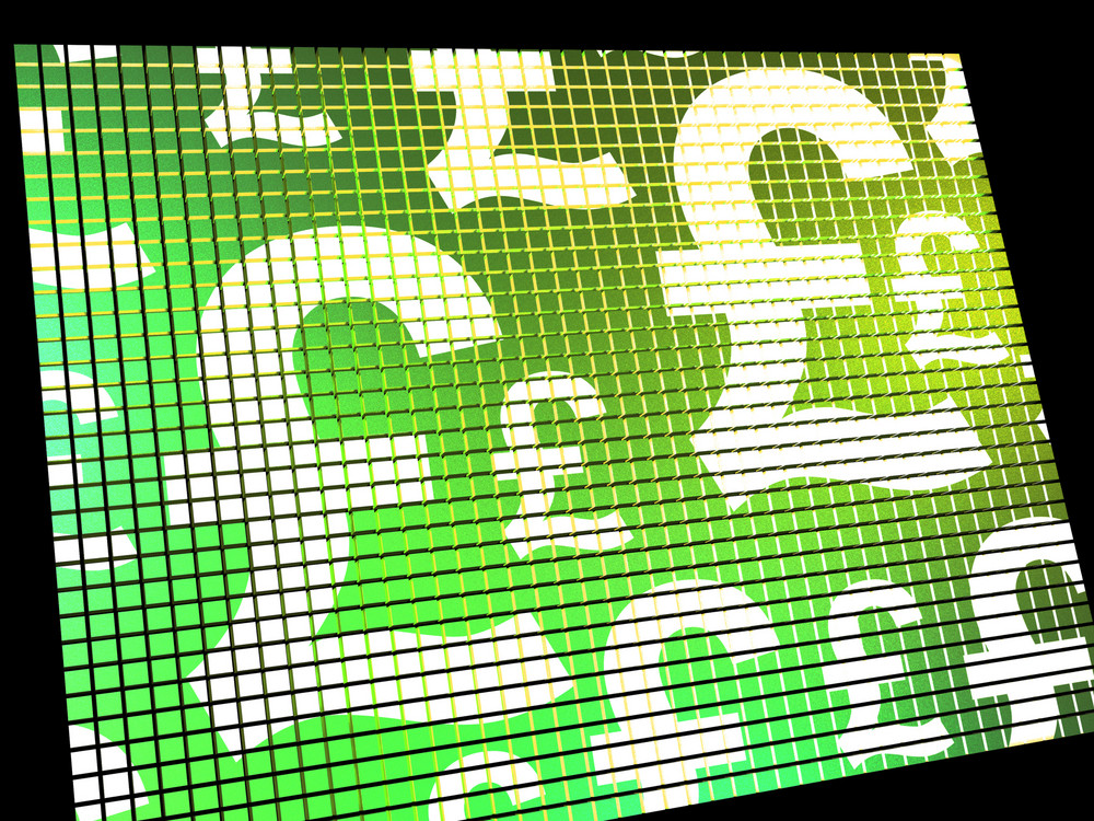Pound Symbols On Screen Showing Money And Investment