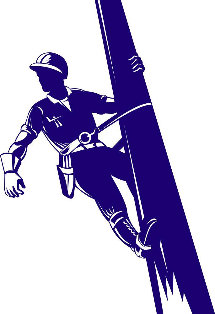 Power Lineman Climbing
