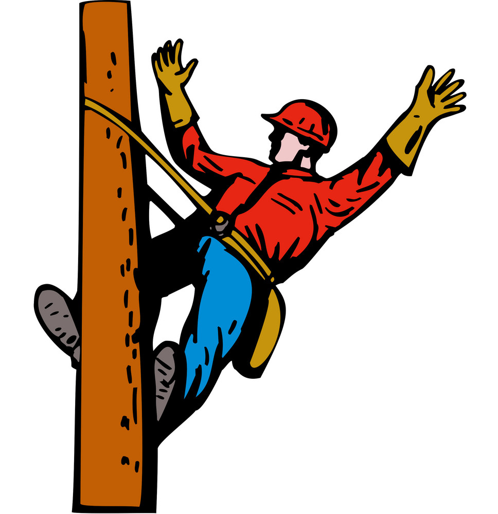 Power Lineman Electrician Leaning