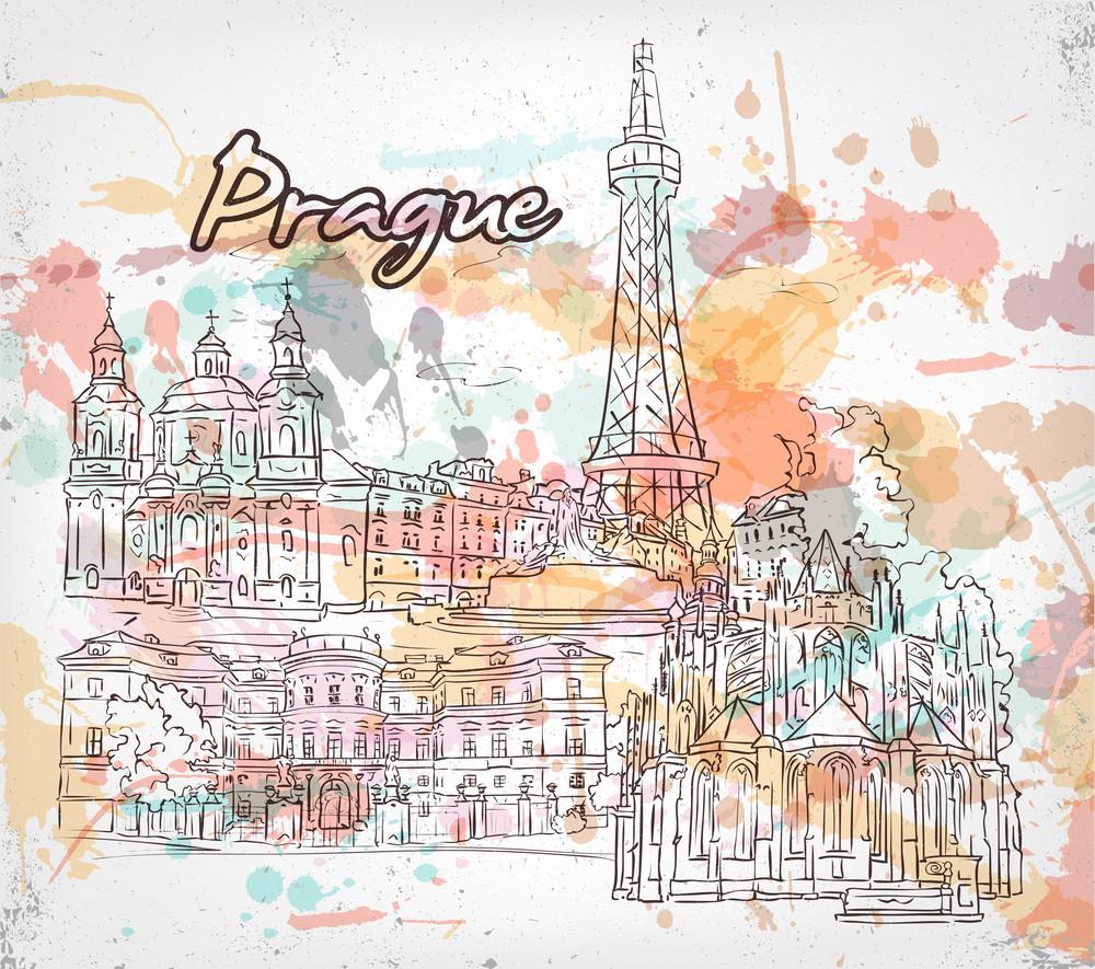 Prague Doodles Vector Illustration