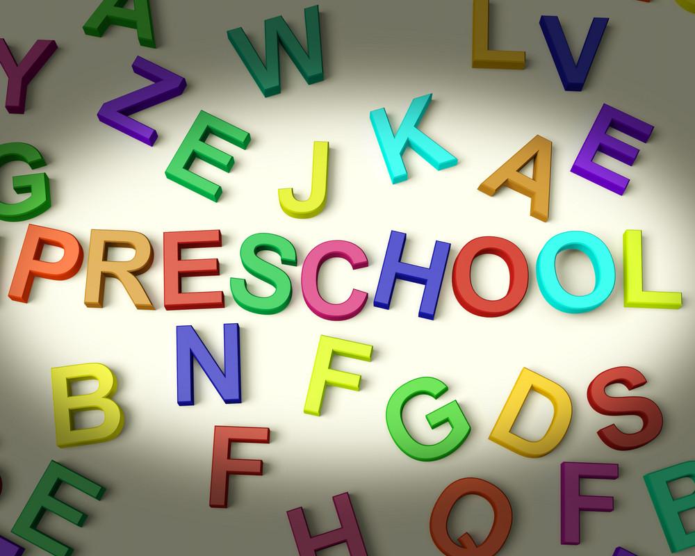 Preschool Written In Plastic Kids Letters