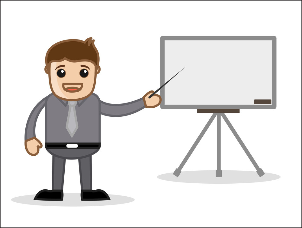 Presentation - Office And Business People Cartoon Character Vector Illustration Concept