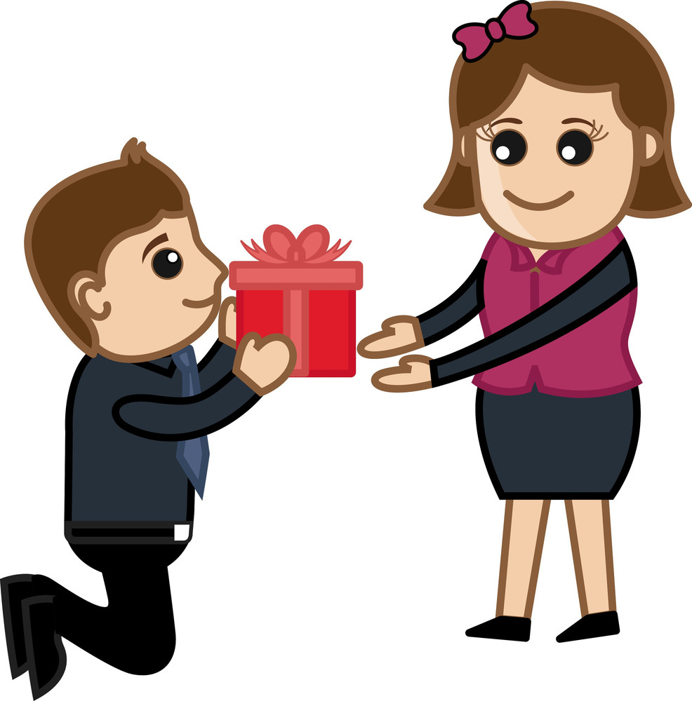 Presenting A Gift Box To Girl Vector