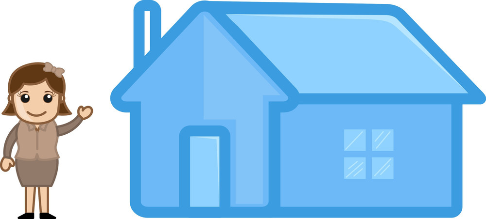 Presenting House - Real Estate Concept - Vector Character Cartoon Illustration