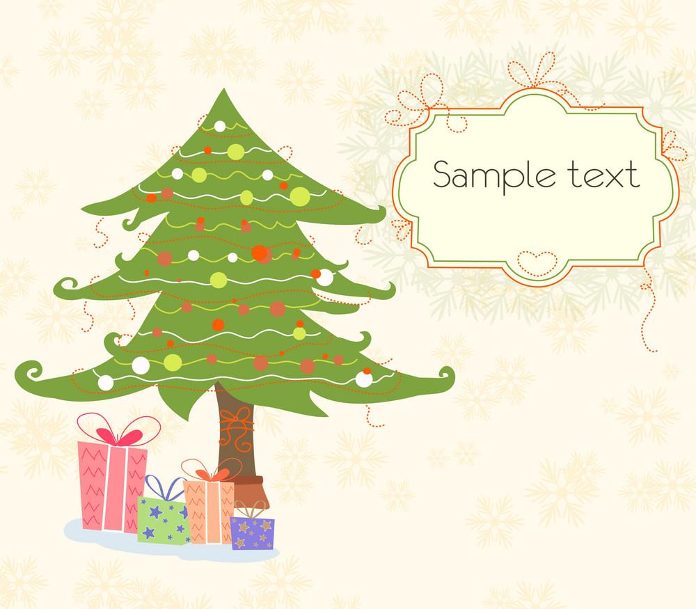 Presents With Tree Vector Illustration