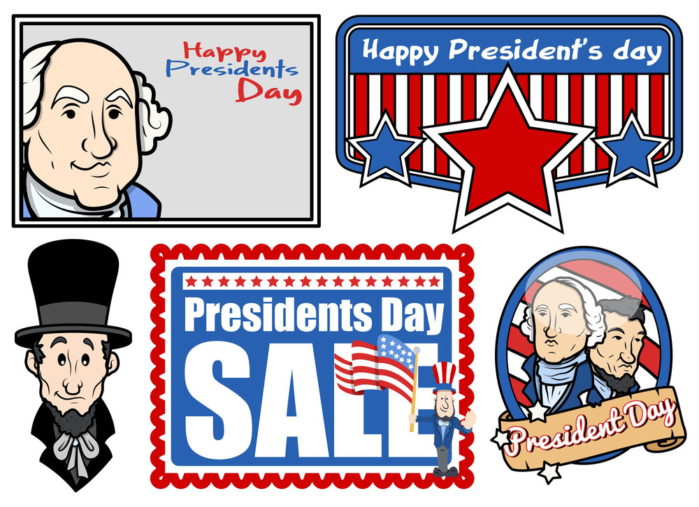 Presidents Day Usa National Theme Vector Set