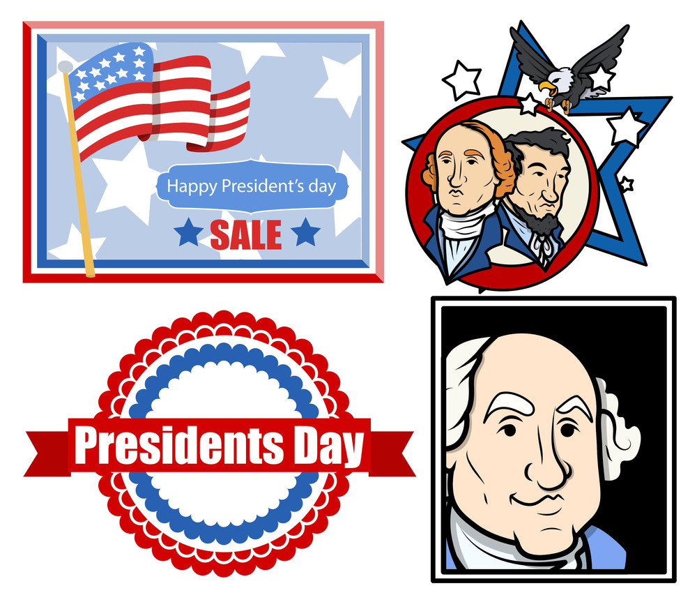Presidents Day Usa Theme Vector Set Designs