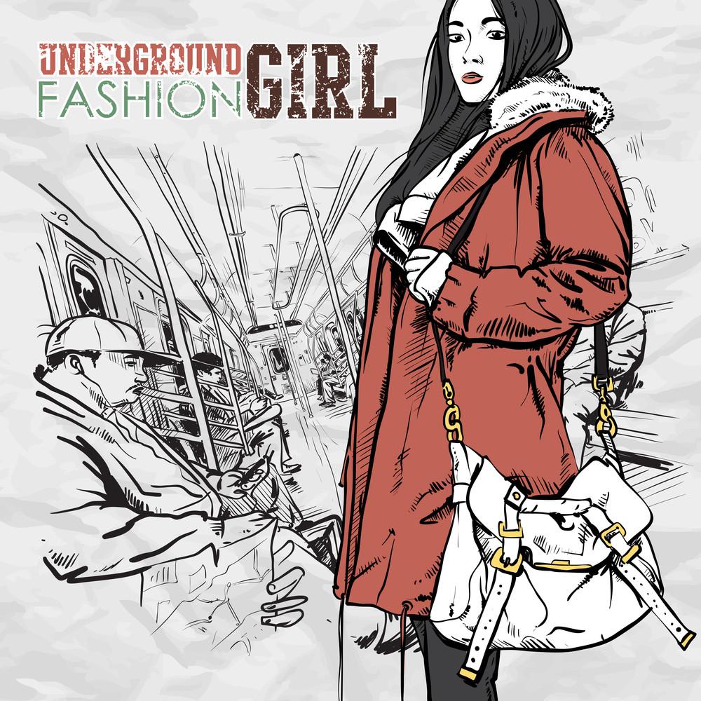 Pretty Autumnal Fashion Girl In A Train. Vector Illustration