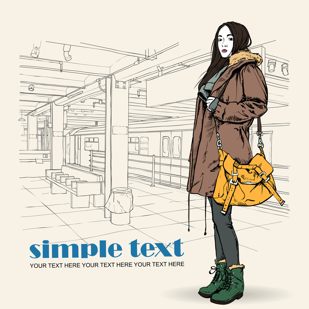 Pretty Autumnal Fashion Girl On A Subway Station. Vector Illustration