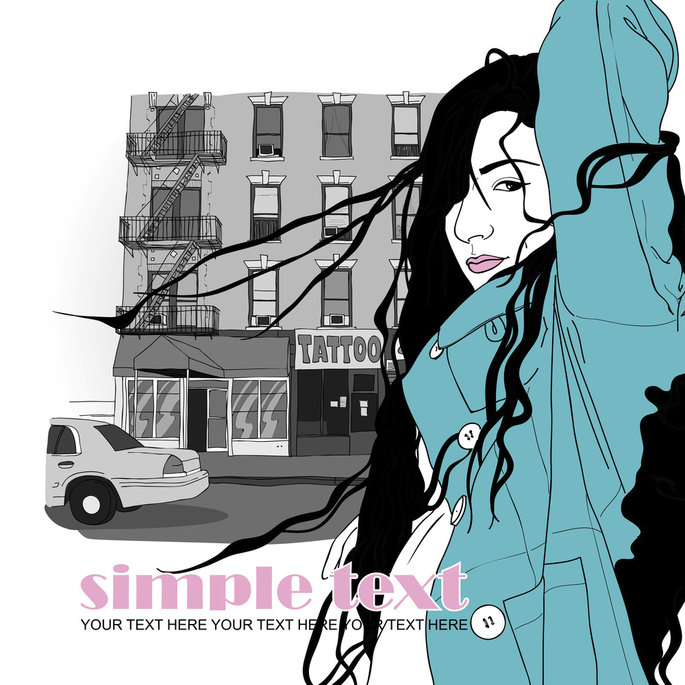 Pretty Autumnal Girl In Sketch Style On A Street-background. Vector Illustrator.