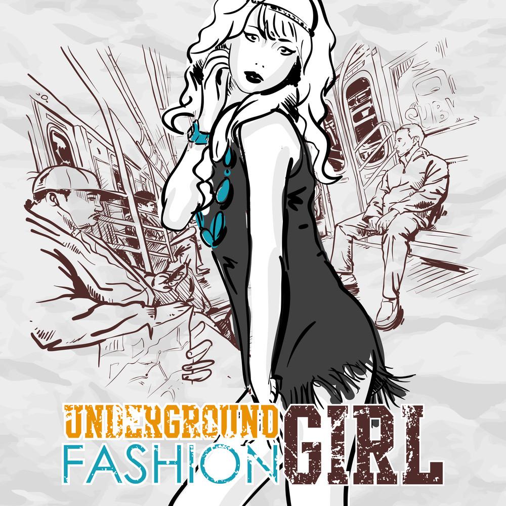 Pretty Fashion Girl In A Train. Vector Illustration