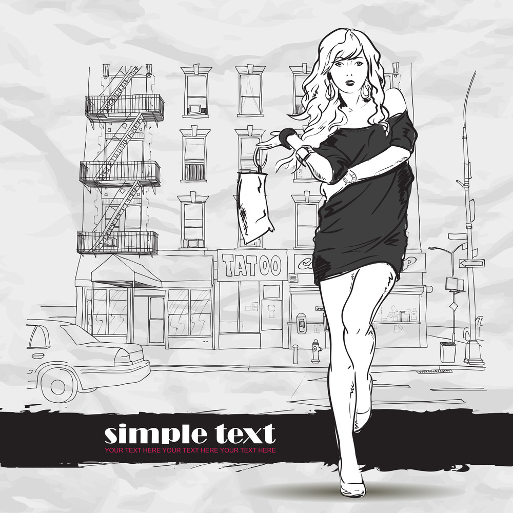 Pretty Fashion Girl In Sketch Style On A Street-background. Vector Illustrator.