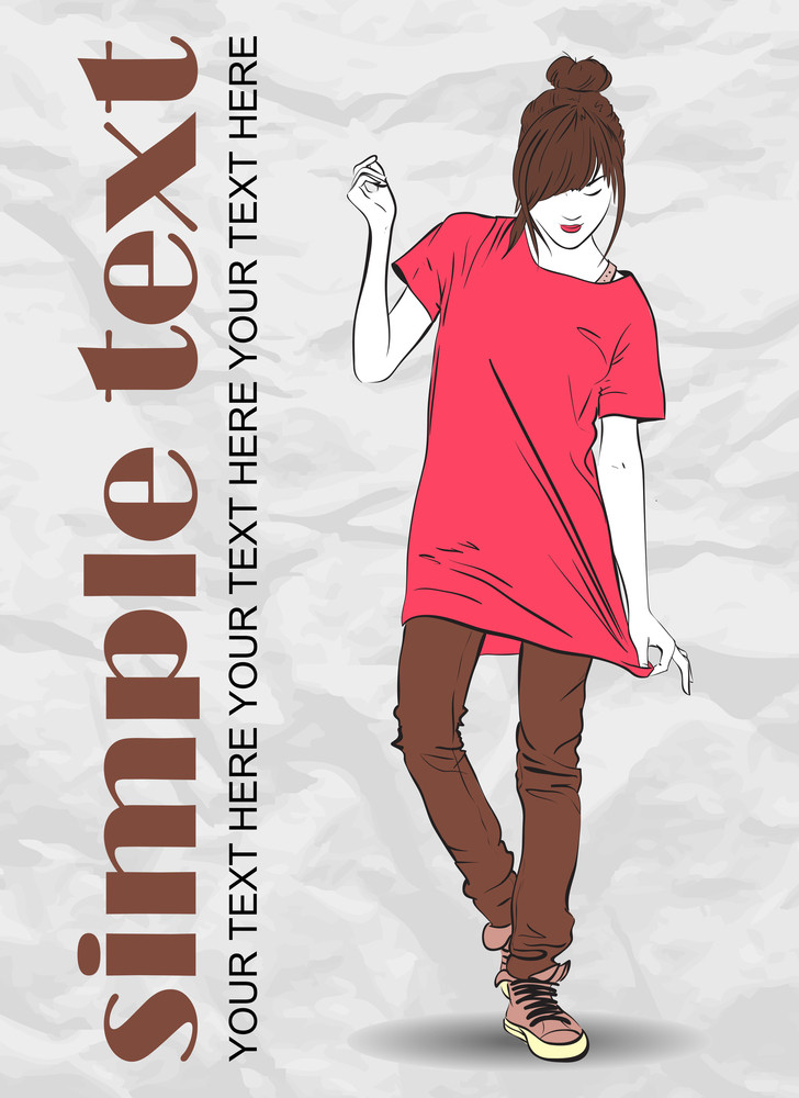 Pretty Fashion Girl On A Grunge Background. Vector Illustrator.
