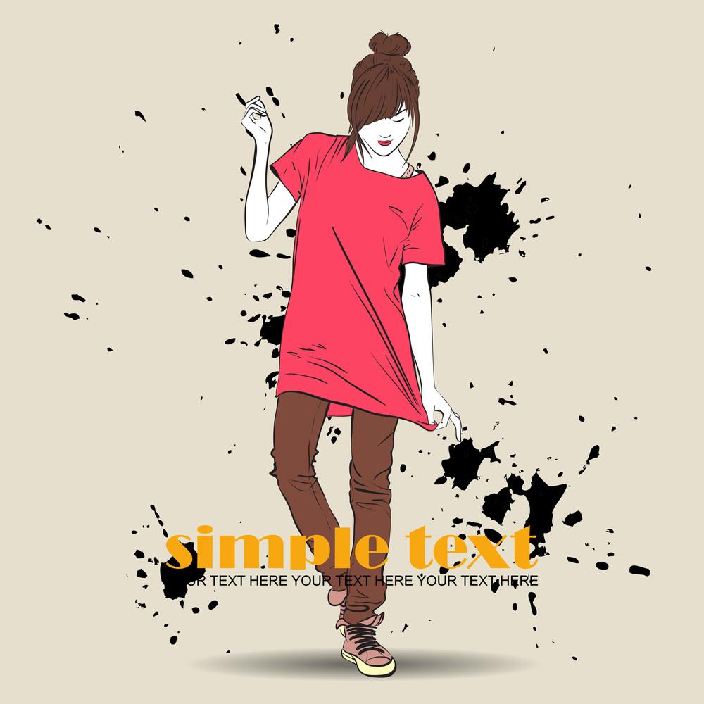 Pretty Fashion Girl On A Grunge Background. Vector Illustrator.