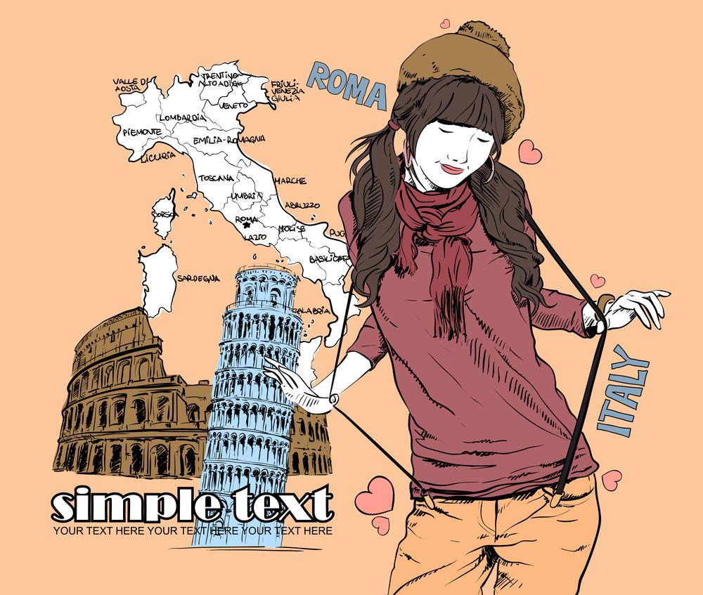 Pretty Fashion Girl On A Italian Background. Vector Illustration.
