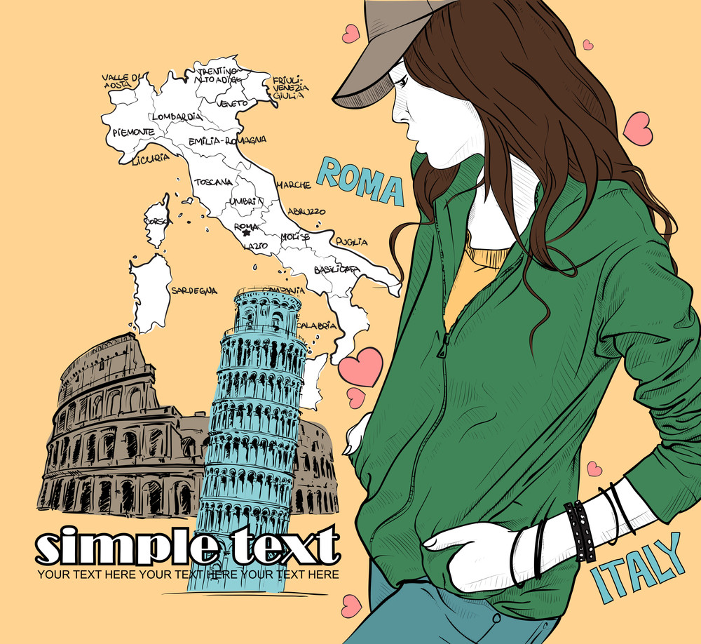 Pretty Fashion Girl On A Italian Background. Vector Illustration.