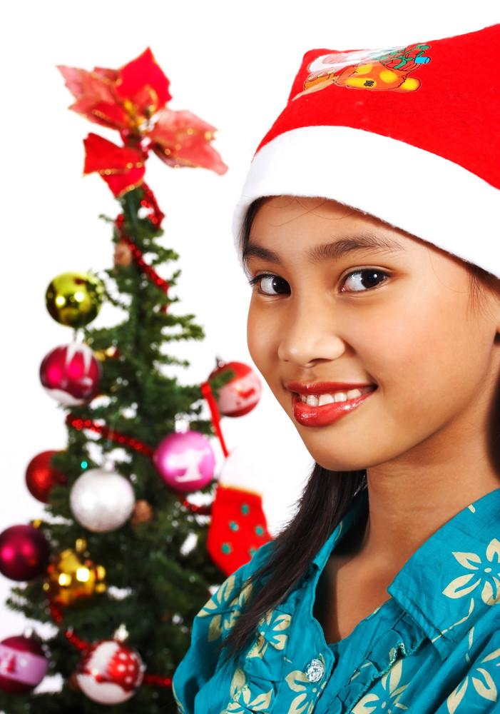 Pretty Girl Celebrating Christmas