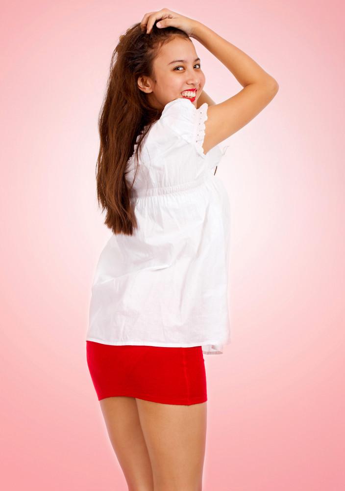 Pretty Girl In A Short Skirt Smiling