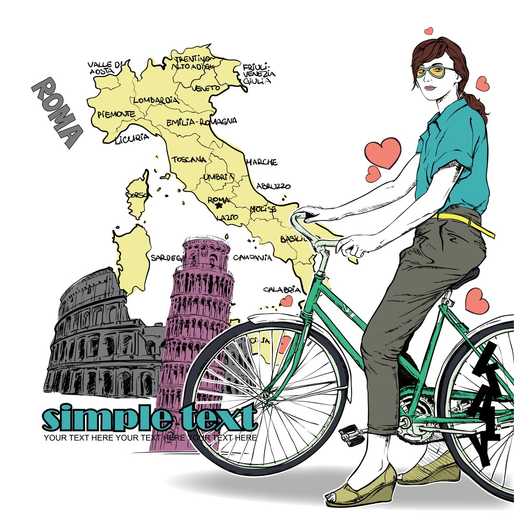 Pretty Girl With Bicycle On A Italian Background. Vector Illustration