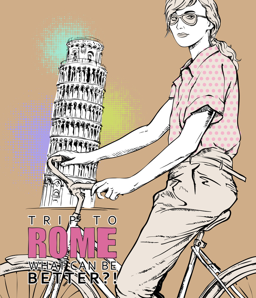 Pretty Girl With Bicycle On A Pisa Tower Background. Vector Illustration