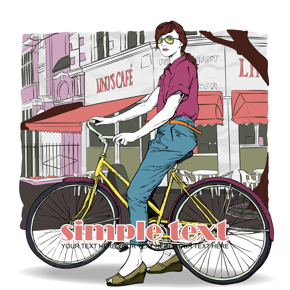 Pretty Girl With Bicycle On A Street Cafe Background. Vector Illustration