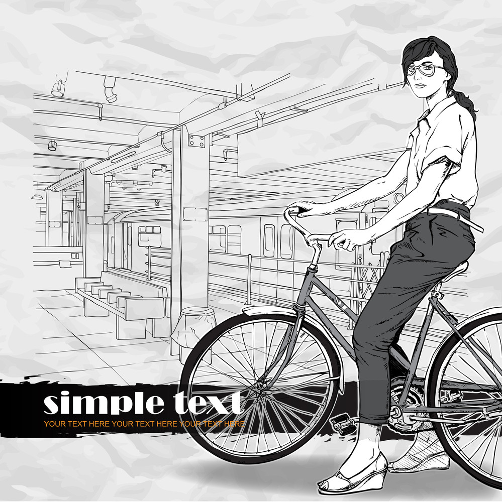 Pretty Girl With Bicycle On A Subway Station. Vector Illustration