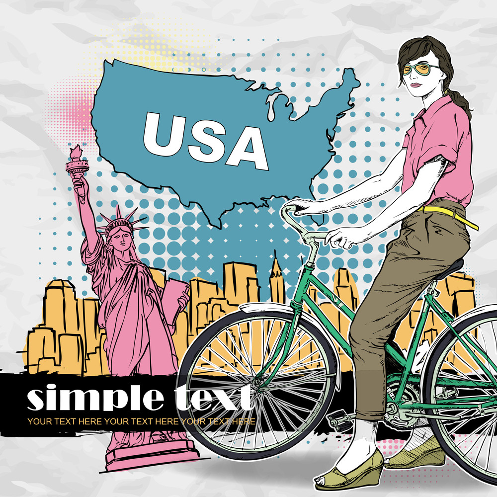 Pretty Girl With Bicycle On A Usa Background. Vector Illustration