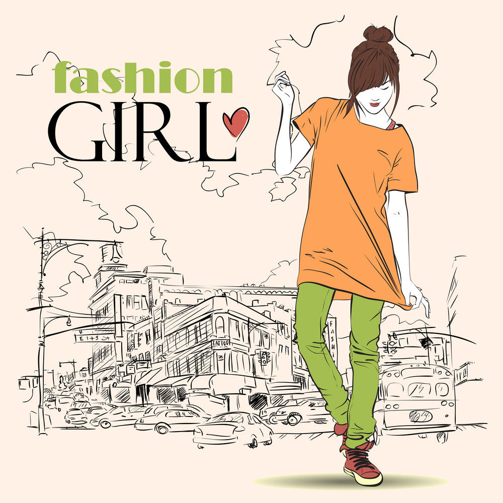 Pretty Girl With In Sketch-style On A Town-background. Vector Illustration.