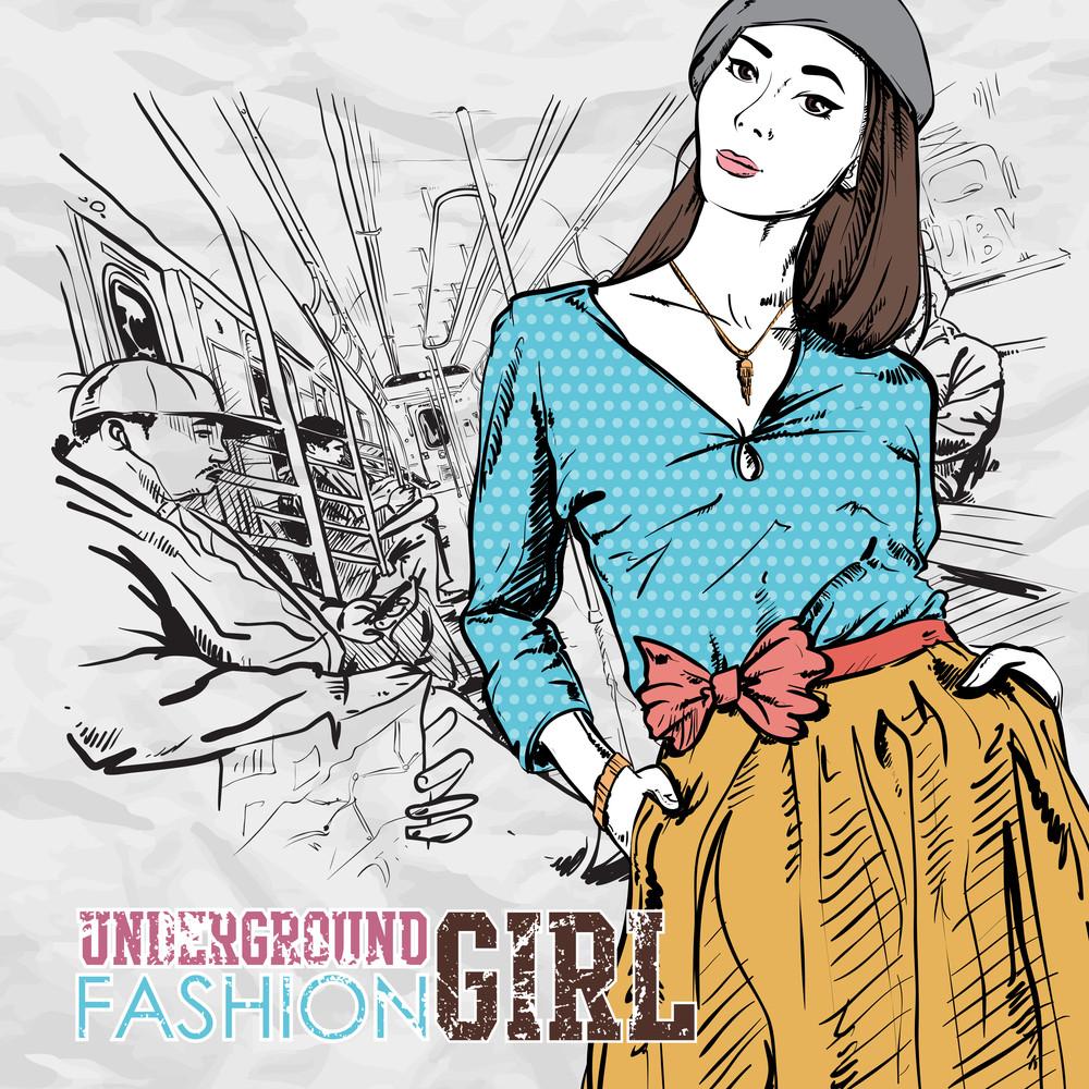 Pretty Spring Fashion Girl In A Train. Vector Illustration