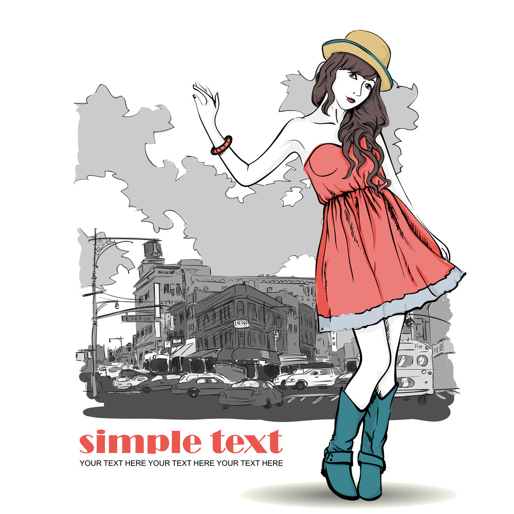 Pretty Spring Girl With Hat On A Street-background. Vector Illustration