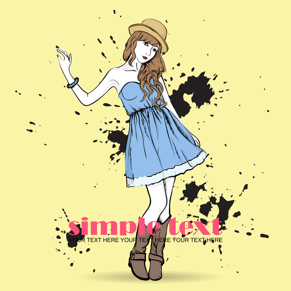 Pretty Spring Girl With Hat. Vector Illustration
