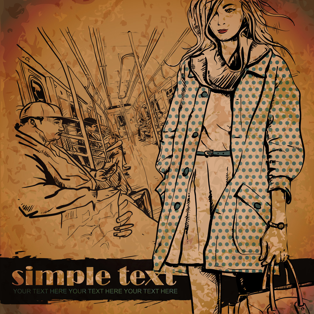 Pretty Winter Fashion Girl In A Train. Vector Illustration