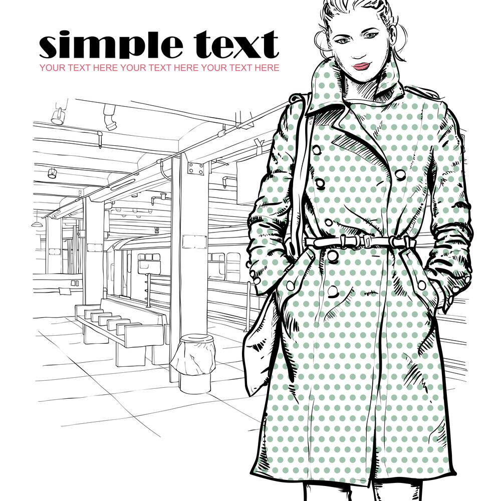 Pretty Winter Fashion Girl On A Subway Station. Vector Illustration