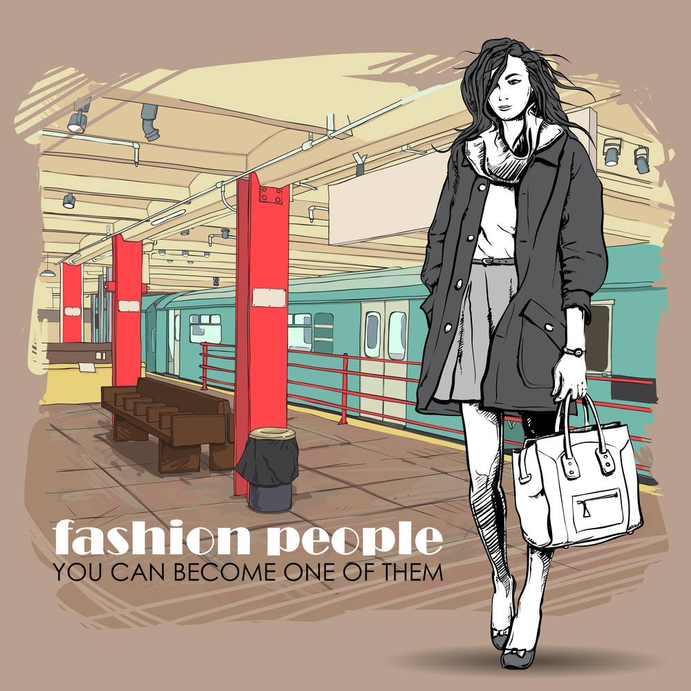 Pretty Winter Girl On A Subway Station. Vector Illustration