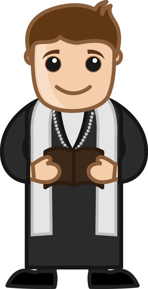 Priest Reading Bible - Cartoon Vector Character