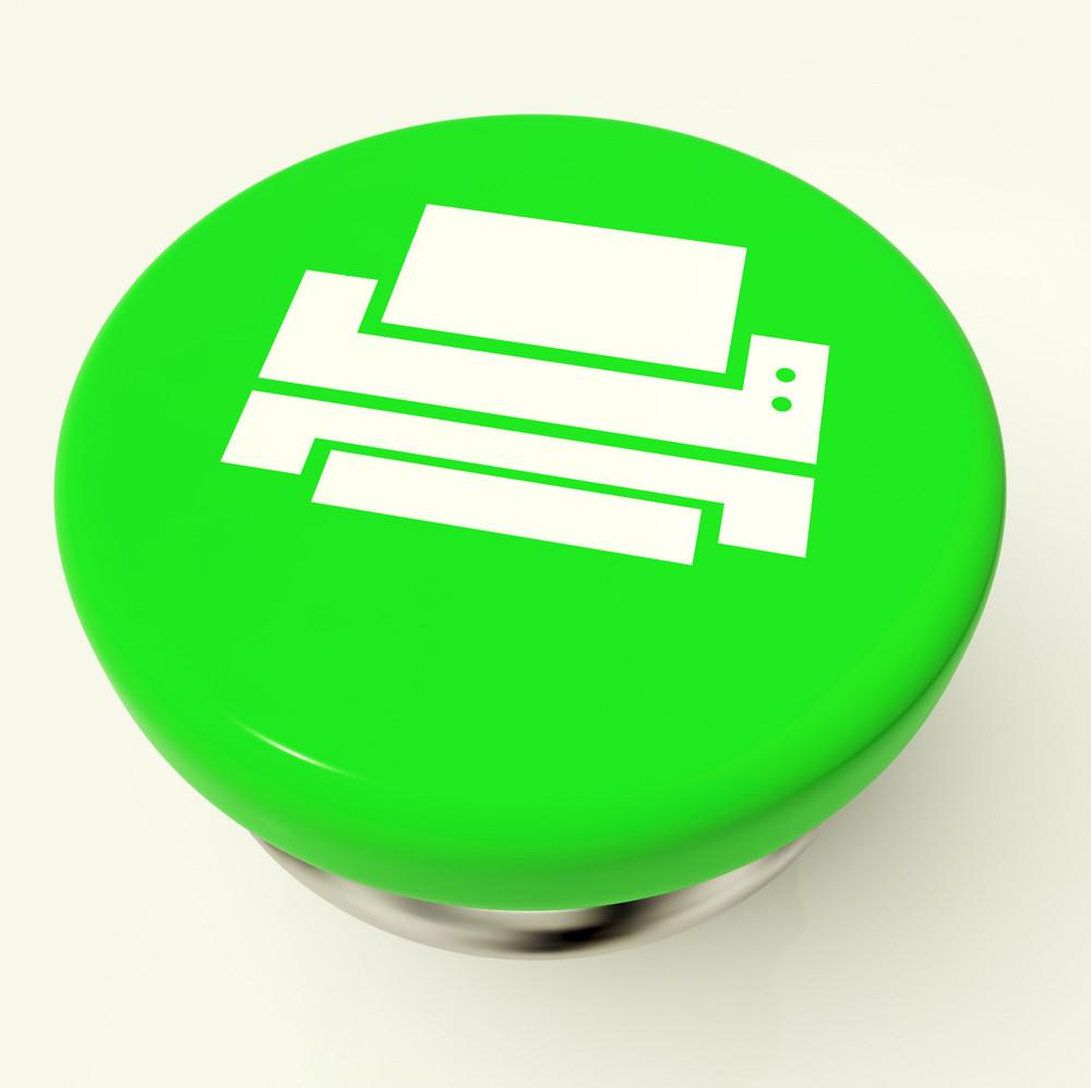 Print Icon Button As Symbol For Printing Or Printer