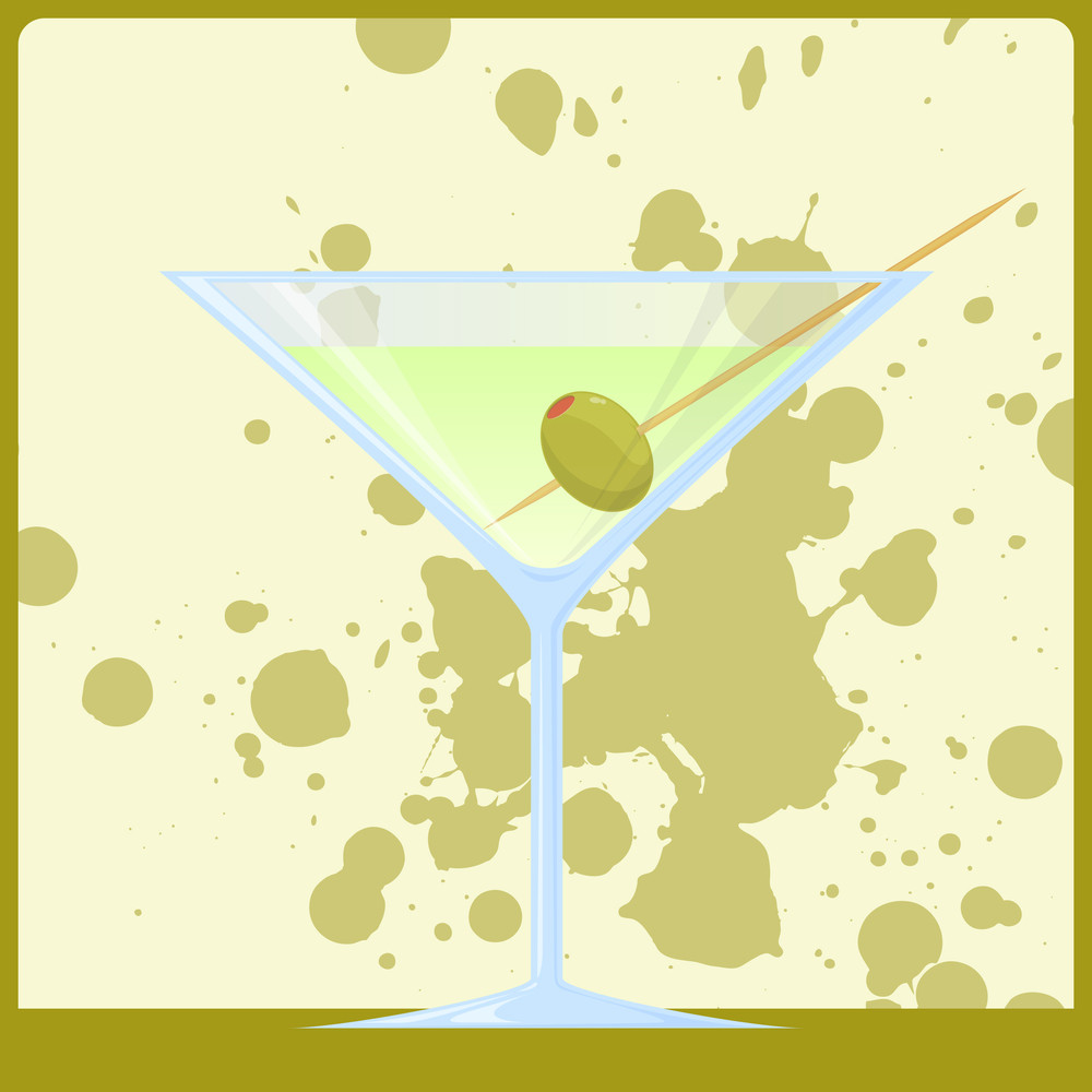 Printvector Illustration Of Martini On A Dirty Background. Eps10