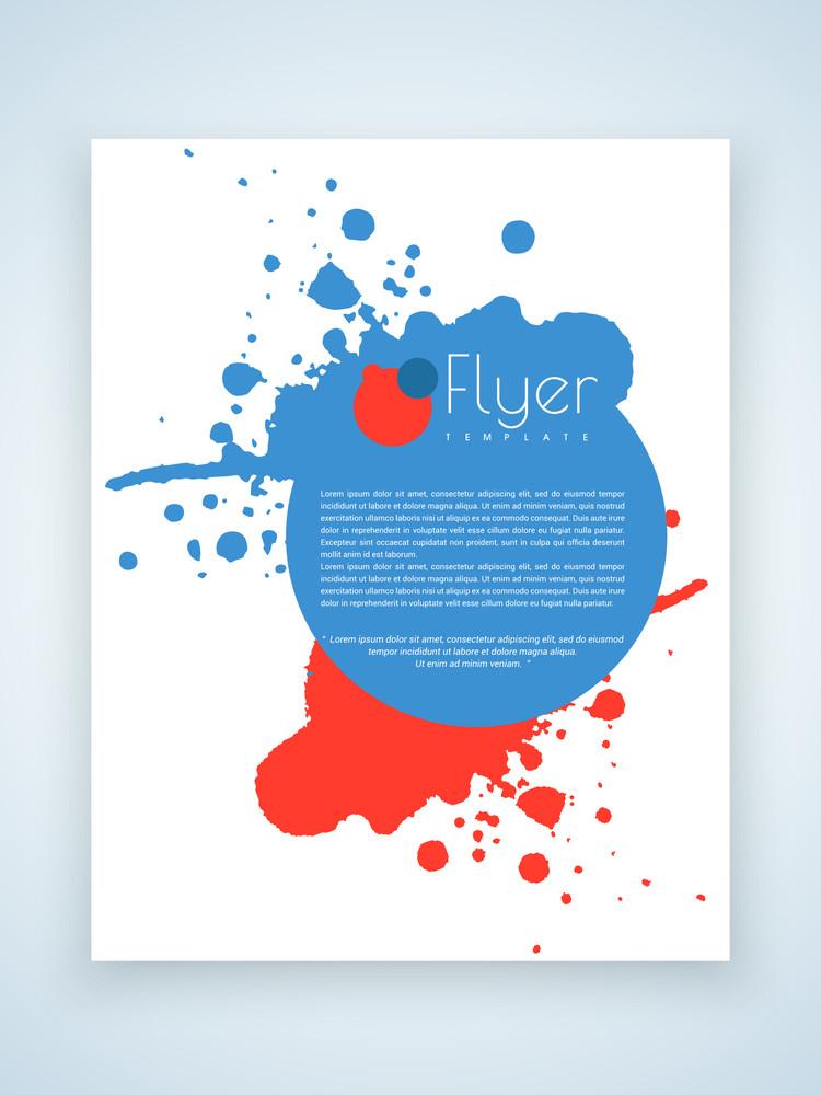 Professional business flyer template or brochure design on color splash.
