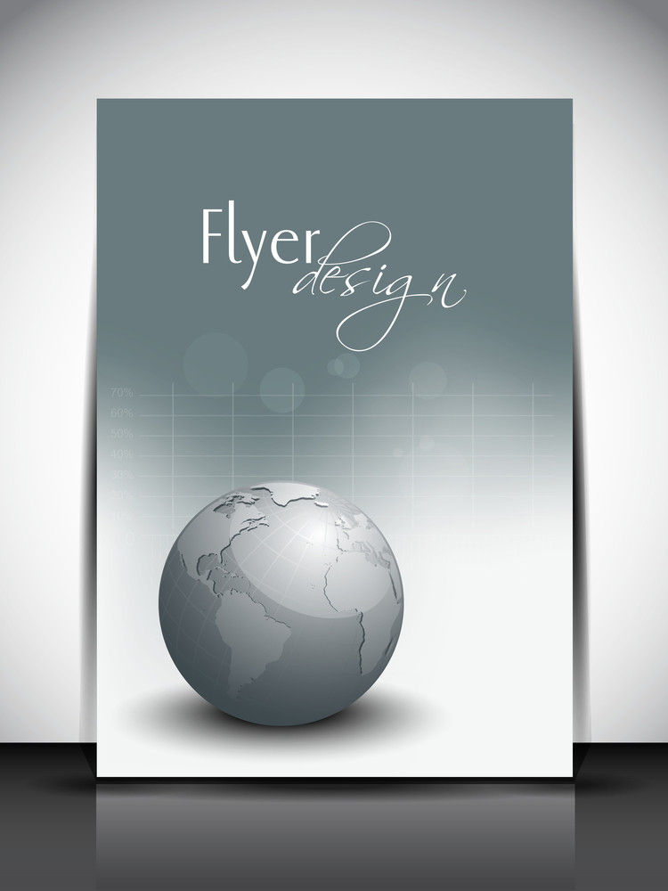 Professional Business Flyer Template Or Corporate Banner With Globe For Publishing