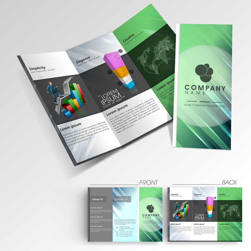 professional business three fold flyer template royalty free stock