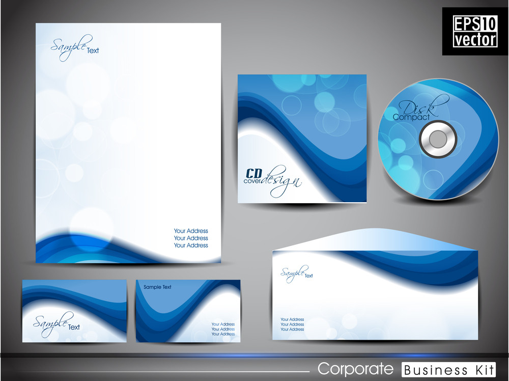 Professional Corporateidentity Kit Or Business Kit With Abstract Wave Pattern .