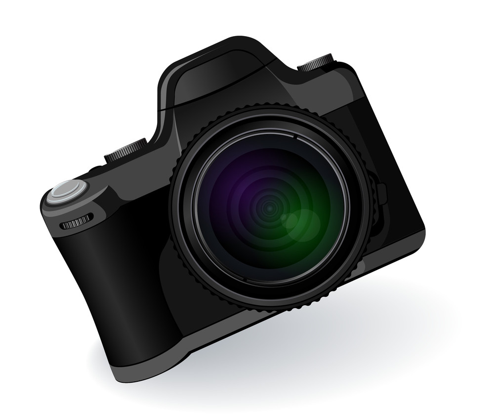 Professional Photo Camera. Vector.