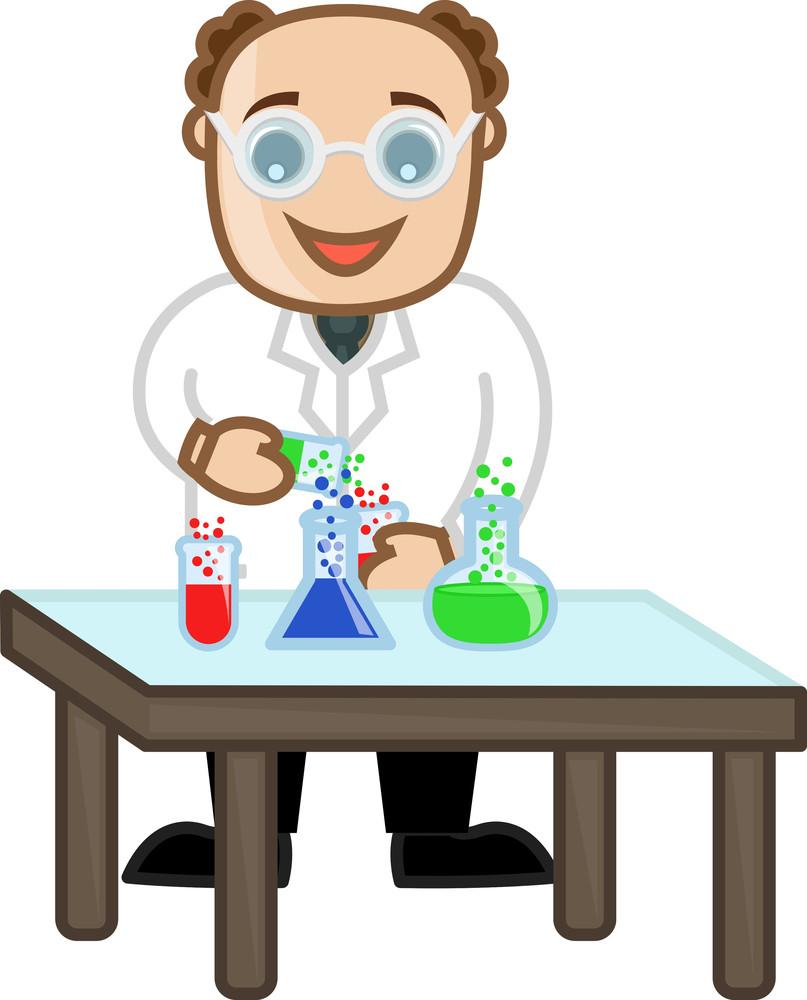 Professor Experiment - Vector Character Cartoon Illustration