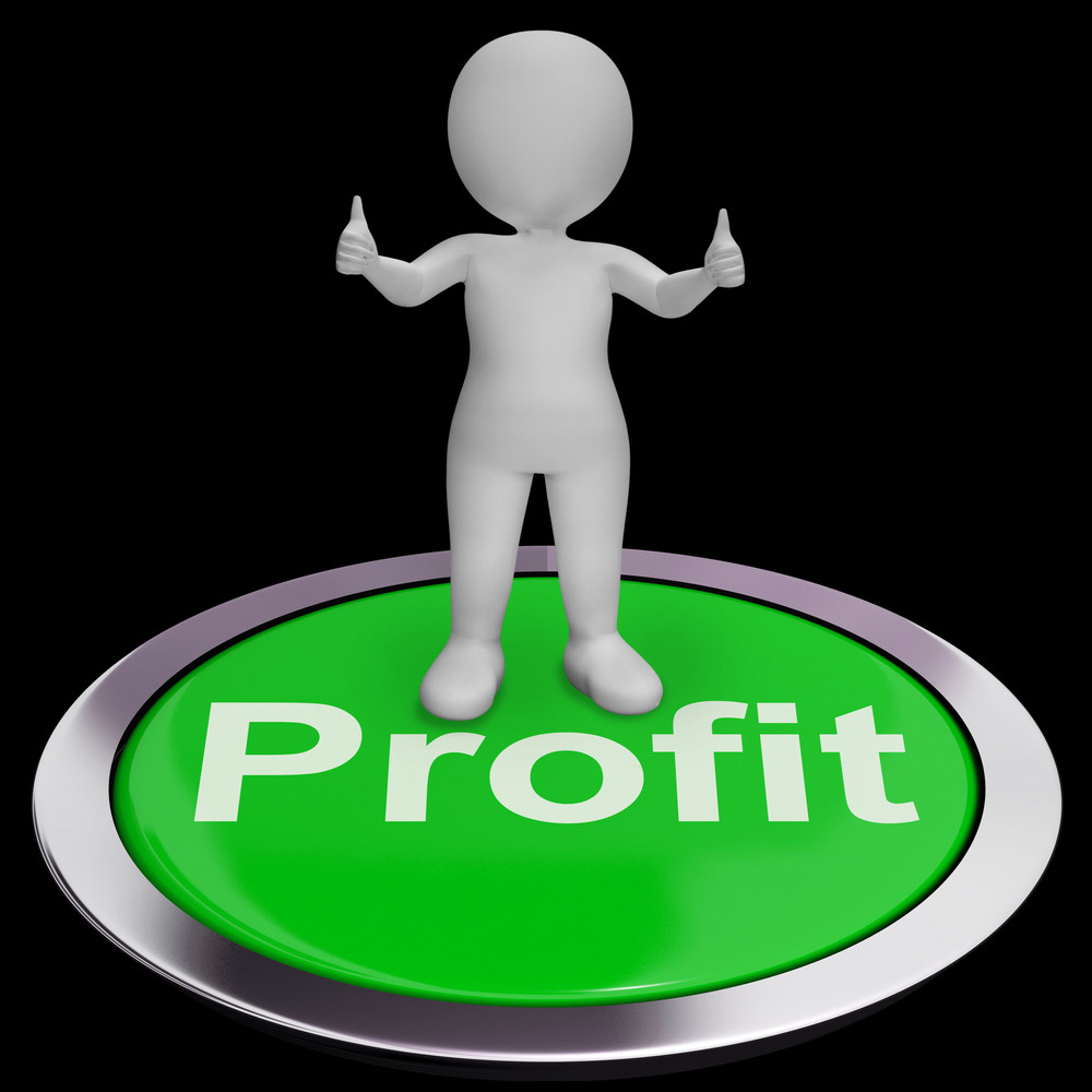Profit Computer Button Shows Earnings And Investments
