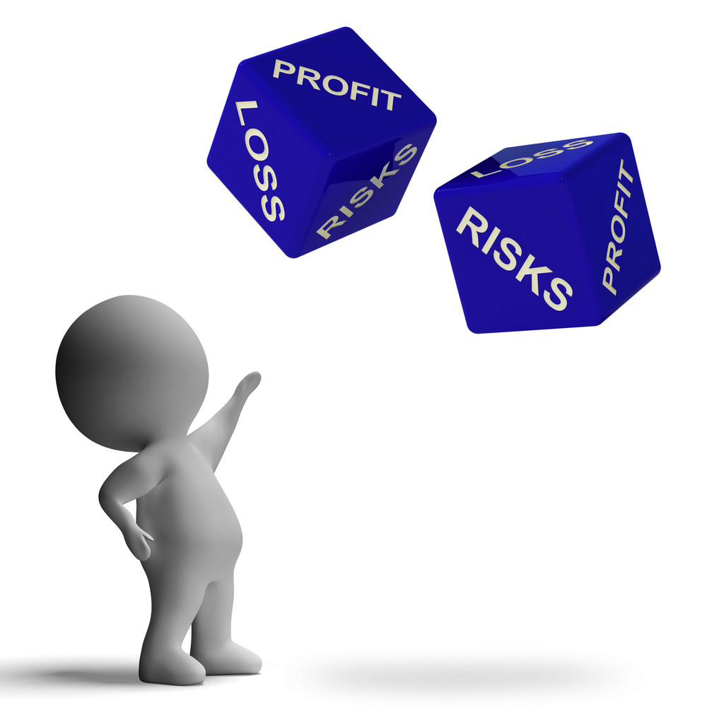 Profit Or Loss Dice Showing Returns For Business