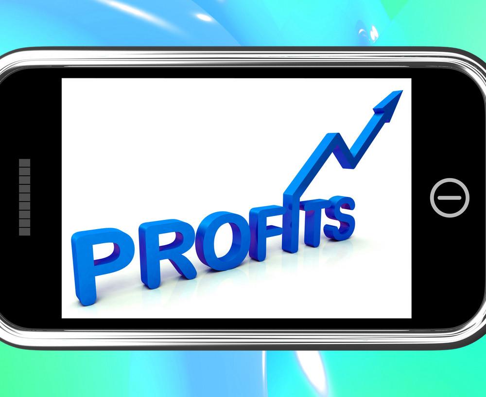 Profits On Smartphone Showing Monetary Increase